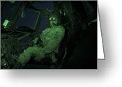 Control Greeting Cards - A Pilot Wears Night Vision Goggles Greeting Card by Terry Moore