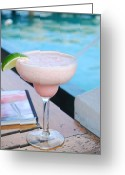 St Margarita Greeting Cards - A Pink Sand Margarita Greeting Card by Hibberd, Shannon