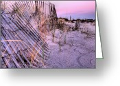 Sand Fences Photo Greeting Cards - A Pink Sunrise Greeting Card by JC Findley