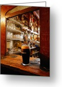 Dick Greeting Cards - A Pint Of Dark Beer Sits In A Pub Greeting Card by Jim Richardson