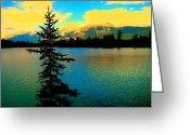 Dark Moss Green Photo Greeting Cards - A Placid Lake Greeting Card by Shirley Sirois
