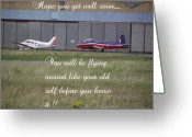 One Small Window Greeting Cards - A Plane Get Well Message Greeting Card by Dawn Hay