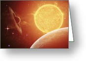 Twinkle Greeting Cards - A Planet And Its Moon Resisting Greeting Card by Kevin Lafin