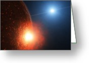 Cataclysm Greeting Cards - A Planetesimal Collides With A Small Greeting Card by Andrew Taylor