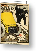 Litho Greeting Cards - A police car runs over a little girl Greeting Card by Felix Edouard Vallotton