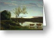Lake With Reflections Greeting Cards - A Pond with three Cows and a Crescent Moon Greeting Card by Jean Baptiste Camille Corot
