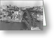 River Scenes Greeting Cards - A Portion Of Porto And Its Large Greeting Card by W. Robert Moore