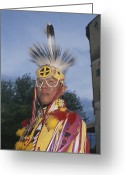 Ethnic And Tribal Peoples Greeting Cards - A Portrait Of A Dakota Sioux Indian Greeting Card by Taylor S. Kennedy