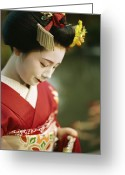 Hairstyles Greeting Cards - A Portrait Of A Kimono-clad Geisha Greeting Card by Justin Guariglia