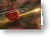Accretion Discs Greeting Cards - A Possible Newfound Planet Spins Greeting Card by Stocktrek Images
