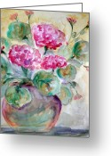 Flower Photographs Painting Greeting Cards - A pot a spring Greeting Card by Julie Lueders