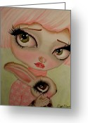 Adorable Bunny Greeting Cards - A Precious Love Greeting Card by Dottie Gleason