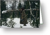 World Culture Greeting Cards - A Pregnant Nenets Woman Carries A Small Greeting Card by Maria Stenzel