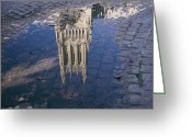 Washington Cathedral Greeting Cards - A Puddle In The Cobblestone Walk Greeting Card by Stephen St. John