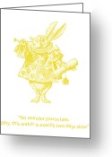 Childs Greeting Cards - A Punctual Rabbit Greeting Card by Georgia Fowler