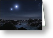 Star Clusters Greeting Cards - A Quintuple Star System Known Greeting Card by Andrew Taylor