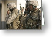 Transceiver Greeting Cards - A Radio Operator Helps A Platoon Greeting Card by Stocktrek Images