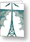 Communications Tower Greeting Cards - A Radio Tower Greeting Card by Ken Jacobsen