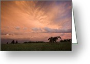 Grasslands Greeting Cards - A Receding Thunderstorm Creates Greeting Card by Jim Richardson