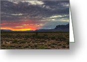 The Supes Greeting Cards - A Red Sunrise  Greeting Card by Saija  Lehtonen