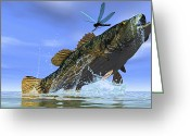 Sea Life Digital Art Greeting Cards - A Redeye Bass Jumps But Just Misses Greeting Card by Corey Ford