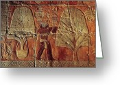 Antiquities And Artifacts Greeting Cards - A Relief Of Men Carrying Myrrh Trees Greeting Card by Kenneth Garrett
