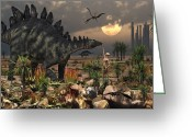 Stegosaurus Digital Art Greeting Cards - A Reptoid Being And A Stegosaurus Greeting Card by Mark Stevenson