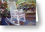 Rocking Chairs Greeting Cards - A Rest in the Shade Greeting Card by David Lloyd Glover