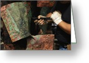 Charlestown Greeting Cards - A Restorer Removes Copper From The Hull Greeting Card by Maria Stenzel