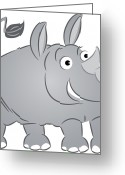 Cute Rhinoceros Greeting Cards - A Rhinoceros Greeting Card by Wolfgang Herzig
