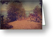 Bike Riding Greeting Cards - A Ride Down to the Lake Greeting Card by Laurie Search