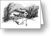 Central Drawings Greeting Cards - A Ride Through Central Park Greeting Card by Liz Viztes