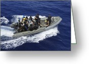 Uganda Greeting Cards - A Rigid-hull Inflatable Boat Carrying Greeting Card by Stocktrek Images