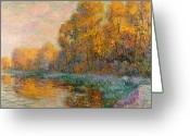 River Banks Greeting Cards - A River in Autumn Greeting Card by Gustave Loiseau