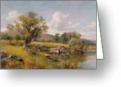 Sat Greeting Cards - A River Landscape Greeting Card by David Bates