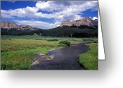 Clouds Framed Prints Greeting Cards - A River Runs Through Wyoming Greeting Card by Kathy Yates