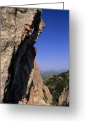 Image Type Photo Greeting Cards - A Rock Climber On Mean Streak Greeting Card by Gordon Wiltsie