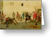 Snake Painting Greeting Cards - A Roman Street Scene with Musicians and a Performing Monkey Greeting Card by Modesto Faustini
