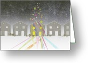 Luck Greeting Cards - A Row Of Houses Greeting Card by Jutta Kuss