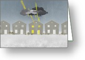 Storm Cloud Greeting Cards - A Row Of Houses With A Storm Cloud Over One House Greeting Card by Jutta Kuss