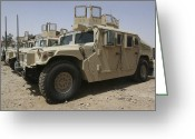 Military Police Greeting Cards - A Row Of Humvees From Task Force Greeting Card by Stocktrek Images