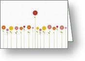 Standing Out From The Crowd Greeting Cards - A Row Of Various Colored Gerbera Daisies And One Towering Above Them Greeting Card by Jutta Kuss