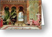 Orientalists Greeting Cards - A Royal Palace in Morocco Greeting Card by Benjamin Jean Joseph Constant