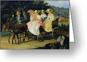 Coaching Greeting Cards - A Run Greeting Card by Aleksandr Pavlovich Bryullov