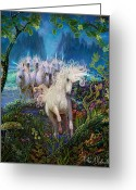 Unicorn Art Greeting Cards - A Run On The Beach Greeting Card by Steve Roberts
