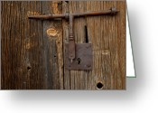 Image Type Photo Greeting Cards - A Rusty Barn Door Lock On An Old Greeting Card by Medford Taylor