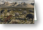 Arid Climate Greeting Cards - A Sabre-toothed Tiger Stalks A Herd Greeting Card by Mark Stevenson