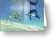 Sea Life Digital Art Greeting Cards - A Sailfish Hunts Prey On A Sandy Reef Greeting Card by Corey Ford