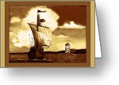 Monochrome Mixed Media Greeting Cards - A Sailin 2 Greeting Card by Sherry Holder Hunt