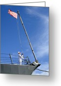 Flag Raising Greeting Cards - A Sailor Lowers The U.s. Navy Jack Greeting Card by Stocktrek Images